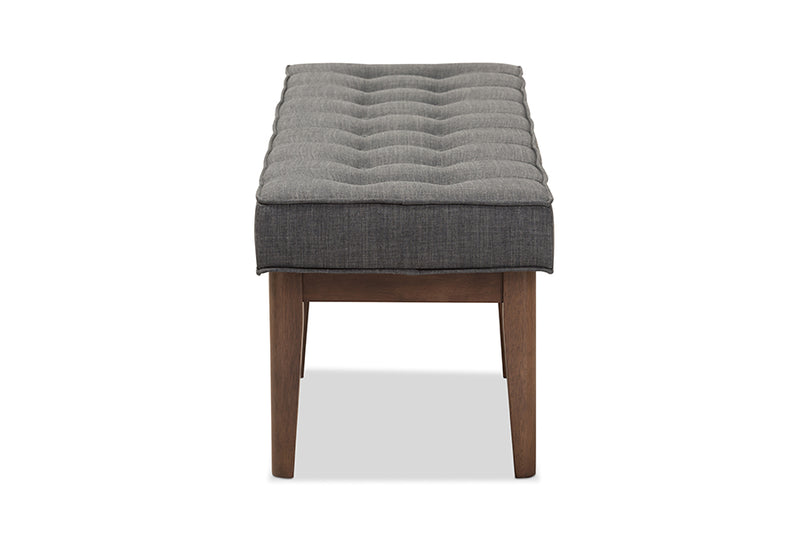Lucca Dark Grey Button-Tufted Bench