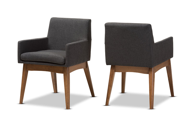 Nexus Walnut and Dark Grey Dining Armchair (Set of 2)