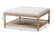 Carlotta French Country Weathered Oak Beige Linen Square Coffee Table Ottoman