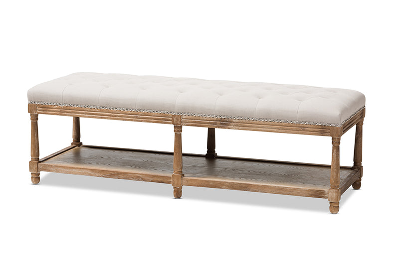 Celeste French Country Weathered Oak Beige Linen Upholstered Ottoman Bench
