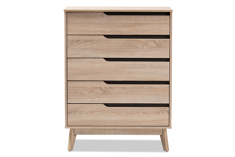Fella   Two-Tone Oak and Grey Wood 5-Drawer Chest