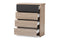 Jamie   Two-Tone Oak and Grey Wood 4-Drawer Chest
