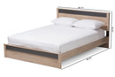 Jamie   Two-Tone Oak and Grey Wood Queen Size Platform Bed