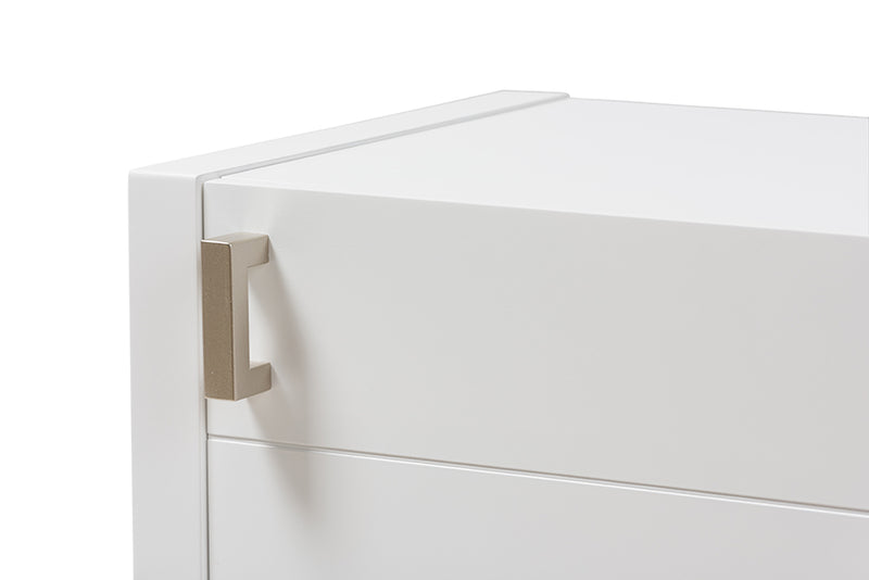 Mandel White Wood Nightstand