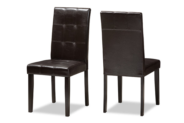 Avery Dark Brown Leather Dining Chair (Set of 2)