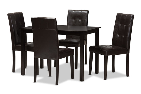 Avery Dark Brown Leather 5-Piece Dining Set