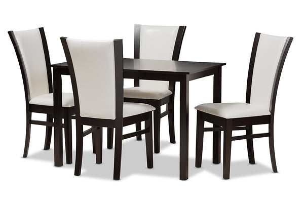 Adley 5-Piece White Leather Dining Set