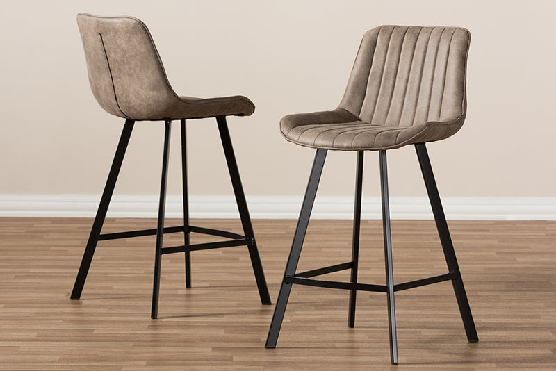 Leighton   Light Brown   Counter Stool (Set of 2)