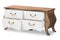 Raynell Country Cottage Farmhouse Antique White and Oak-Finished Wood 4-Drawer Cabinet