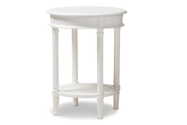 Poire Country Cottage Farmhouse White Finished End Table