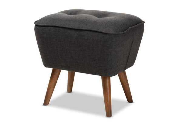 Petronelle   Dark Grey   Walnut Brown Finished Wood Ottoman