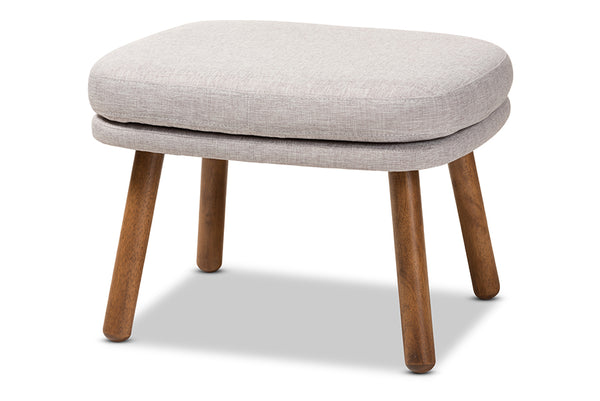 Lovise   Greyish Beige   Walnut Brown Finished Wood Ottoman