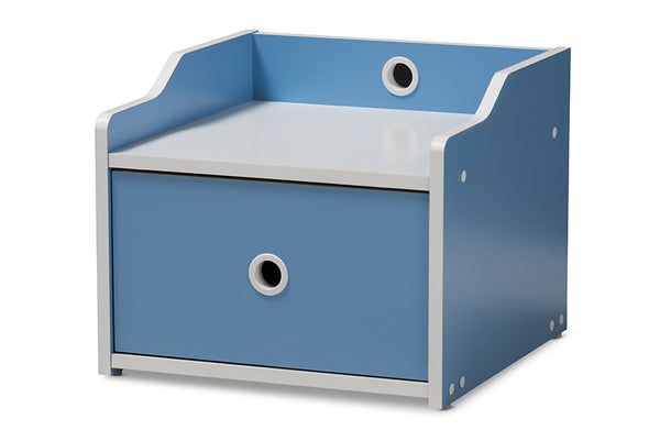 Aeluin Blue & White Nightstand