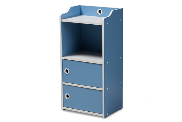 Aeluin Blue & White 2-Door Bookcase