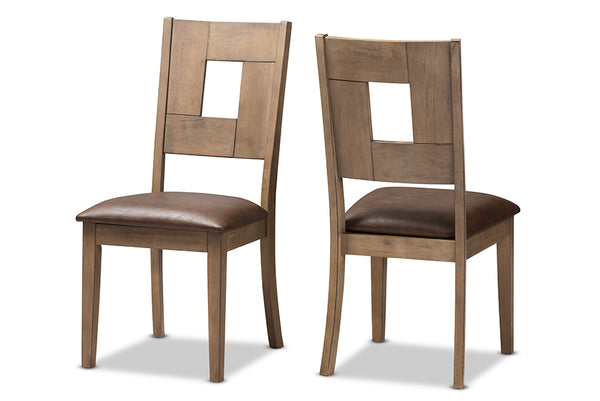 Gillian Shabby Chic Country Cottage Weathered Grey Finishing Wood and Distressed Dark Brown   Leather Upholstered Dining Side Chair (Set of 2)
