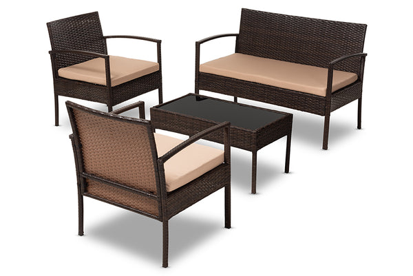 Aronne Beige Rattan 4-Piece Outdoor Lounge Set