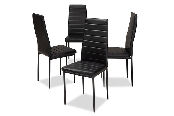 Armand Black Leather Dining Chair (Set of 4)