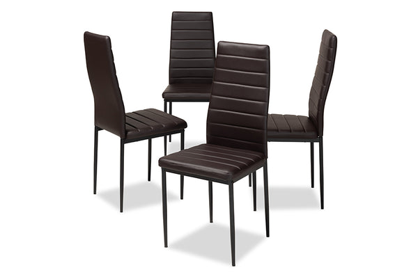 Armand Brown Leather Dining Chair (Set of 4)