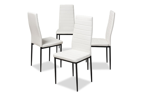 Armand White Leather Dining Chair (Set of 4)