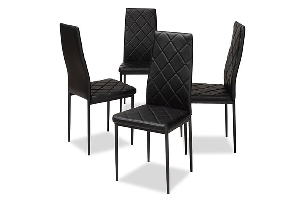 Blaise Black Leather Dining Chair (Set of 4)