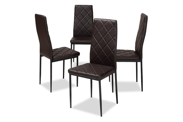 Blaise Brown Leather Dining Chair (Set of 4)