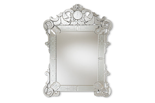 Floriana Classic and Traditional Silver Finished Venetian Style Accent Wall Mirror