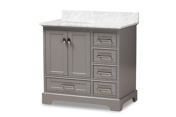 Amaris 36-Inch Transitional Grey Bathroom Vanity