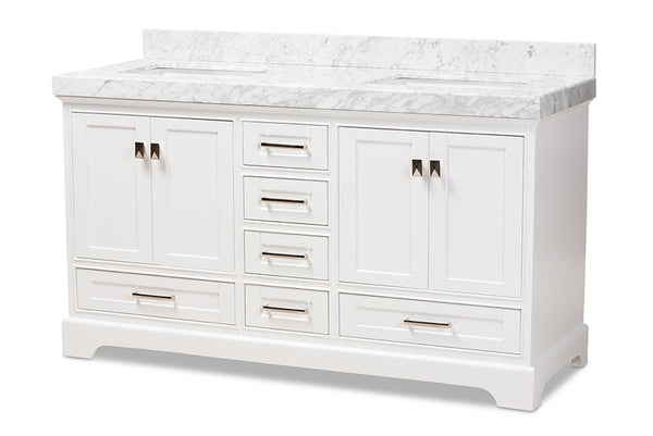 Amaris 60-Inch Transitional White Bathroom Vanity