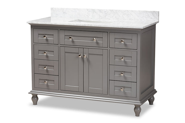 Caroline 48-Inch Transitional Grey Finished Wood and Marble Single Sink Bathroom Vanity