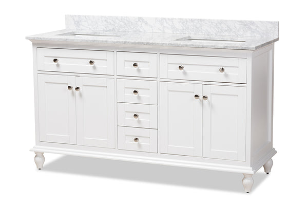 Caroline 60-Inch Transitional White Finished Wood and Marble Double Sink Bathroom Vanity