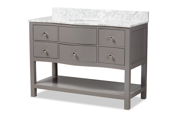 Castie 48-Inch   Grey Finished Wood and Marble Single Sink Bathroom Vanity