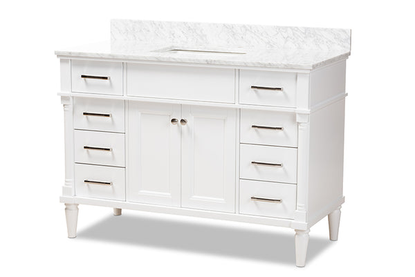 Monte 48-Inch Transitional White finished Wood and Marble Single Sink Bathroom Vanity
