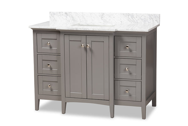 Murray 48-Inch Transitional Grey Finished Wood and Marble Sink  Bathroom Vanity