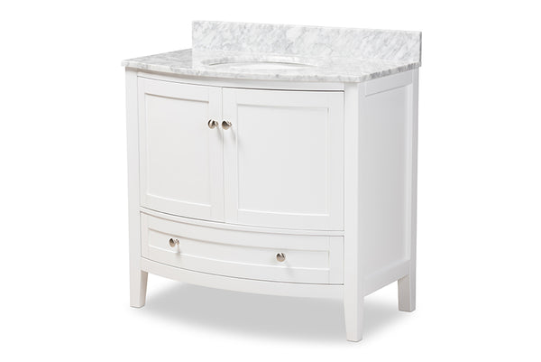 Nicole 36-Inch Transitional White Finished Wood and Marble Single Sink Bathroom Vanity