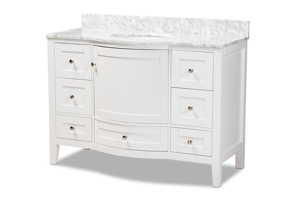 Nicole 48-Inch Transitional White Finished Wood and Marble Single Sink Bathroom Vanity