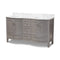 Nicole 60-Inch Transitional Grey Finished Wood and Marble Double Sink Bathroom Vanity