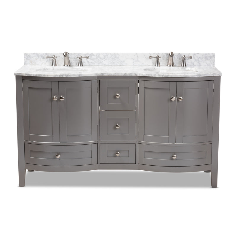Nicole 60-Inch Grey Double Sink Bathroom Vanity