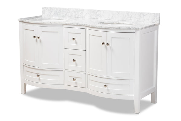 Nicole 60-Inch Transitional White Finished Wood and Marble Double Sink Bathroom Vanity