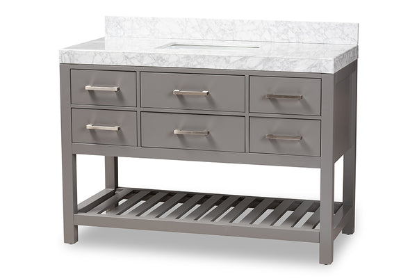 Yolanda 48-Inch   Grey Finished Wood and Marble Single Sink Bathroom Vanity