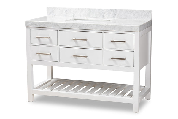 Yolanda 48-Inch   White Finished Wood and Marble Single Sink Bathroom Vanity
