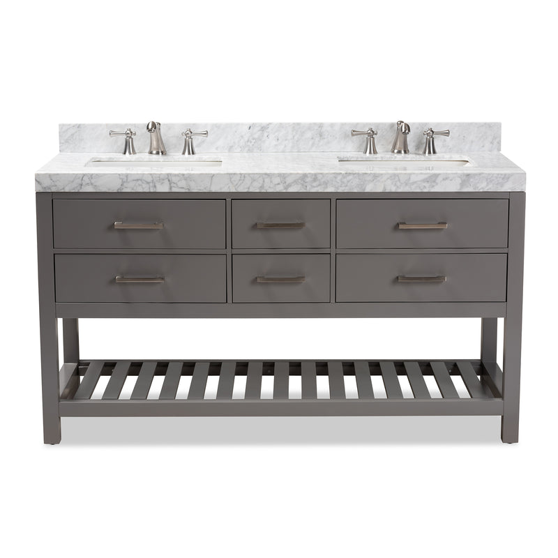 Yolanda 60-Inch Grey Double Sink Bathroom Vanity