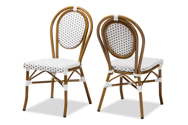 Gauthier Classic French Indoor and Outdoor Grey and White Bamboo Style Stackable Bistro Dining Chair Set of 2