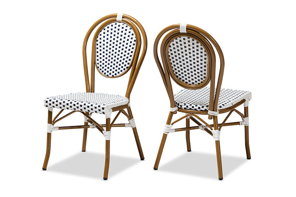 Gauthier Classic French Indoor and Outdoor Navy and White Bamboo Style Bistro Stackable Dining Chair Set of 2