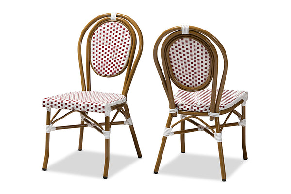Gauthier Classic French Indoor and Outdoor Red and White Bamboo Style Stackable Bistro Dining Chair Set of 2