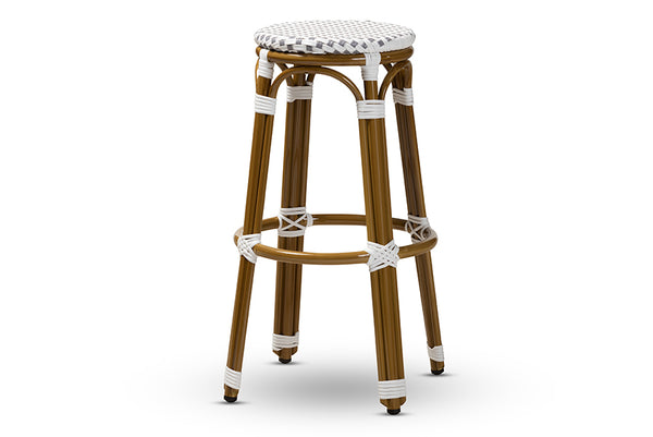 Joelle Classic French Indoor and Outdoor Grey and White Bamboo Style Stackable Bistro Bar Stool