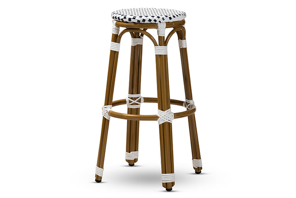 Joelle Classic French Indoor and Outdoor Navy and White Bamboo Style Stackable Bistro Bar Stool