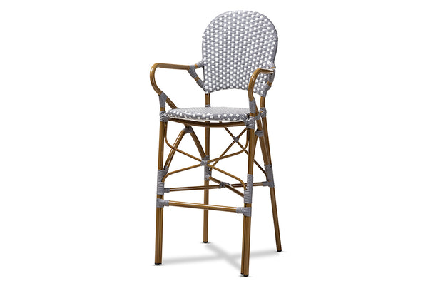Marguerite Classic French Indoor and Outdoor Grey and White Bamboo Style Bistro Stackable Bar Stool