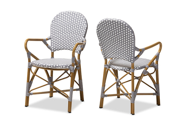 Seva Classic French Indoor and Outdoor Beige and Red Bamboo Style Stackable Bistro Dining Chair Set of 2