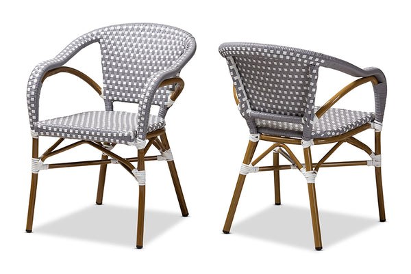 Eliane Classic French Indoor and Outdoor Grey and White Bamboo Style Stackable Bistro Dining Chair Set of 2