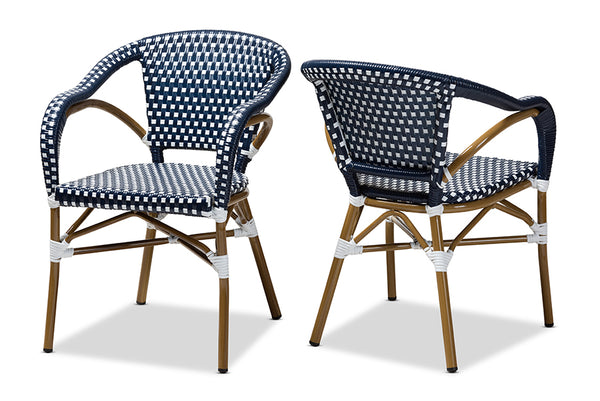 Eliane Classic French Indoor and Outdoor Navy and White Bamboo Style Stackable Bistro Dining Chair Set of 2